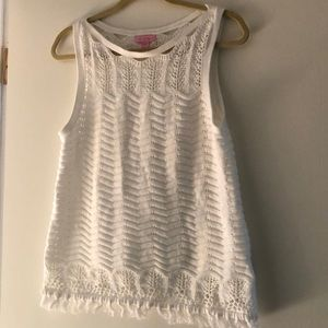 Lilly Pulitzer Crocheted White Sweater Top